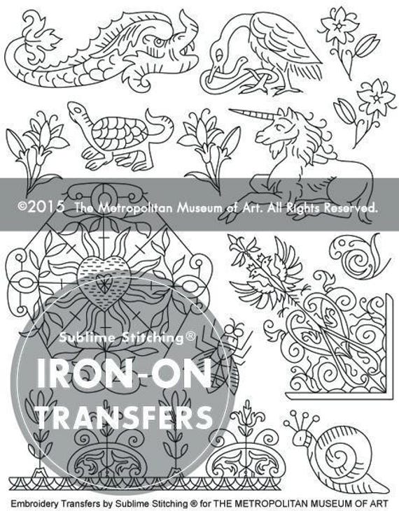 Flora fauna fantasy iron on hand embroidery transfer