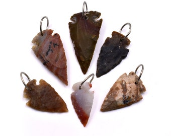 Arrowhead Pendants, 6 pcs, Drilled Arrowheads,   Stone Arrowheads - P115