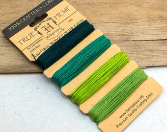 Emerald Green Hemp Card, 10lb Hemp Twine,   168 Feet,  Craft Cord -CH59