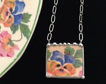 Broken china jewelry necklace antique blue yellow pansy chintz china
