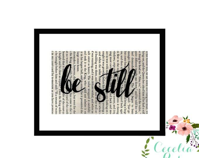 Be Still Inspirational Vintage Framed Book Page Art Box Frame or Print