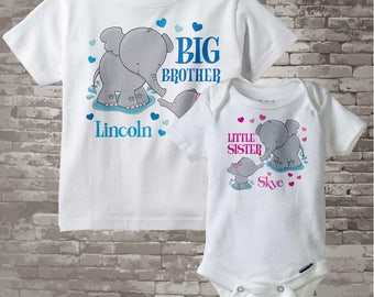 Set of Two Personalized Elephant Big Brother and Little Sister Shirt or Onesie Pregnancy Announcement (04302012a)