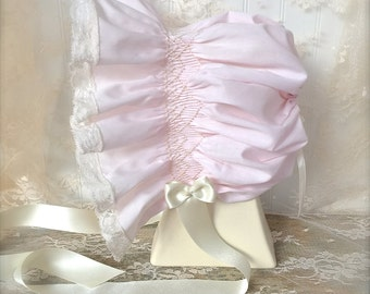 Baby Hand Smocked Feminine Wedding Dedication Bonnet Juvie Moon Designs, Lace and Satin Ribbon
