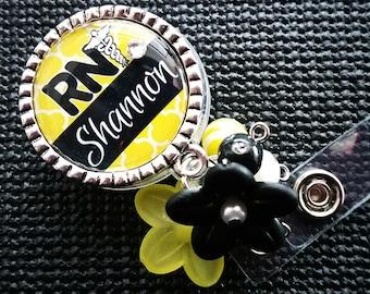 Personalized ID Badge Reels- Rn Lvn Cna - Medical - Mod Yellow Design with Swavorski Rhinestone