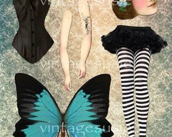 Fairy Tales Art Paper Doll Collage Sheet 'FAIRY of FLIGHT' Digital Download BIRD Fairy Paper Doll