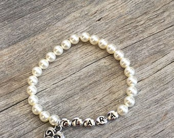 Personalized Name Bracelet girls, Flower Girl Bracelet, Pearl Bracelet, Flower Girl Jewelry, Little Girl Bracelet, Kids Jewelry, Kids Gift