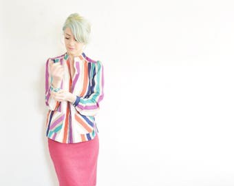 candy land striped linen top . short collar carnival fair blouse .small.medium