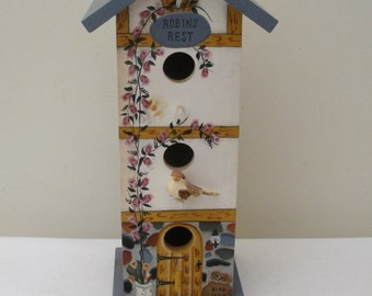 Hand Painted Robin's Rest Tall 3 Hole Birdhouse