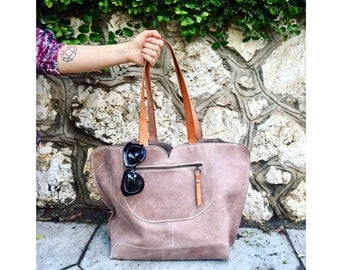Leather Bag / Oversize Bag /  Beige Leather Bag / Leather Handbag / Tote Leather Bag / Designers Bags / Totes / Women Gifts / Gifts For Her