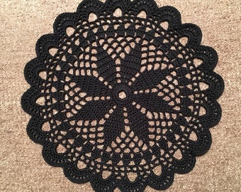 D-35(2). BLACK crochet Doily MANDALA Crocheted Round  crochet Doily Lace  crochet Doily Medium crochet doily Hand crocheted lace doily