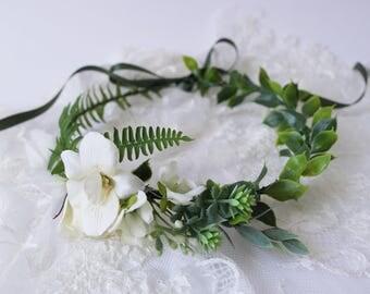 Boho flower crown, simplistic flower crown, natural hair wreath, ivory flower halo, fern flower crown, ivory crown, rose hair wreath, halo
