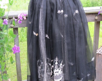 50 % Off 1950s Sheer Skirt Made of Exquisite Antique Sari Fabric Black With White Embroidery