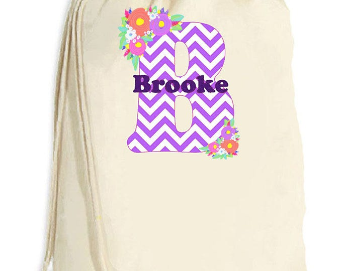 Summer Camp Bags, Kid's Chevron Initial Bag, Laundry totebag, Summer beach bag, Graduation Gift, College Laundry bags, Family travel laundry