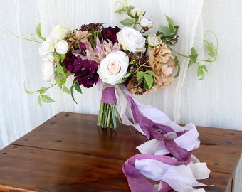 Plum and Lavender Silk Flower Bouquet | Purple and Beige | Loose Boho Wedding Bouquet | SG-1023