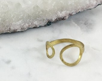 Double Circle Brass Ring | Adjustable | R21607