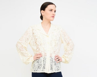 Vintage 90s Ivory Sheer Floral Lace Top - Long Sleeve RUFFLED Blouse - 1990s Collared Button Up Shirt - Boho Romantic Shirt Small S