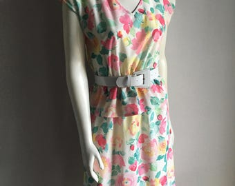 Vintage Women's 80's Floral, Peplum Dress, White, Short Sleeve by Shape (M)