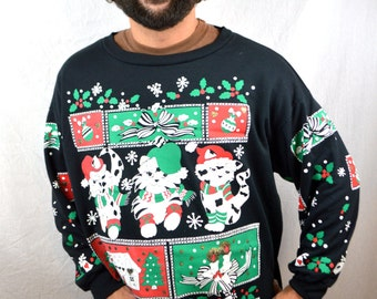 Vintage 80s Puffy Christmas Kitty Cat Holiday Sweatshirt