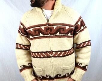 Amazing Vintage Cowichan Geometric Cardigan Zip Up Wool Sweater