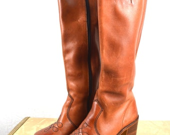 Amazing Vintage 1970s Tall Stacked Heel Boots - Womens Size 7 W 7 B - Made in Brazil