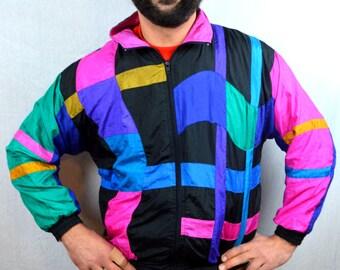 Vintage 80s Rainbow Windbreaker Jacket Coat - Milano Sport