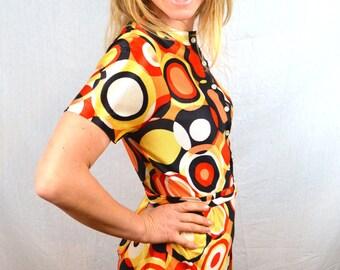 Vintage 1970s Geometric MINI Mod Tuni Top Dress - By Darra California