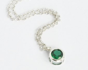 May Birthstone Necklace / Bezel Set Green Gemstone Pendant Necklace Sterling Silver / 16 Inch / 18 Inch / 20 Inch