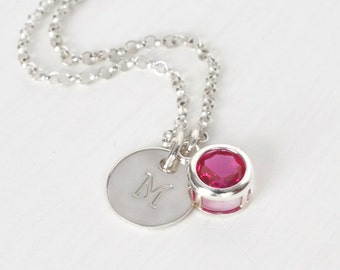 July Birthstone and Initial Necklace Sterling Silver / Personalized Birthstone Jewelry / Initial Necklace with Lab Grown Ruby