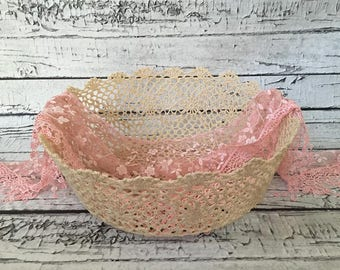 Hardened Lace Newborn Posing Bowl, Sitter Photography Bowl, Lace Basket Photography Prop.