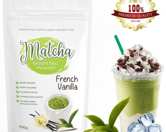 French Vanilla Matcha Tea - 100g - 50 servings  ***Only 4 calories***