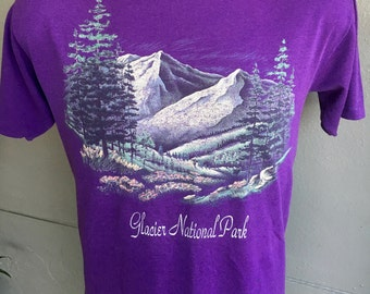 Glacier National Park 1980s vintage tee - purple size
