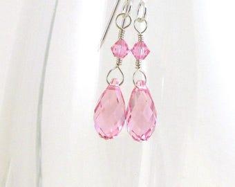 Pink Crystal Tear Drop Earrings, Swarovski Briolette, Choose Color