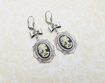 Silver skull cameo octogon earrings -silver ox-skeleton lady cameo -Skull jewelry- gothic steampunk jewelry - gothic victorian-