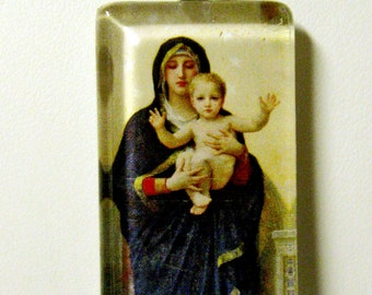 Madonna and child with angels pendant with chain - GP01-506