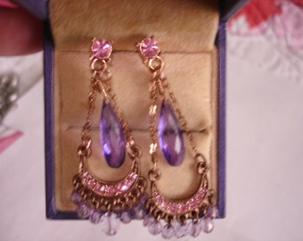 Amethyst Crystal  Stone Earrings Gold Tone Filigree
