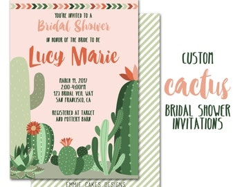 Cactus Bridal Shower Invitation, Printable Bridal Shower Invite,  Succulent, blush, green, mint, Custom Wedding Shower Invitations