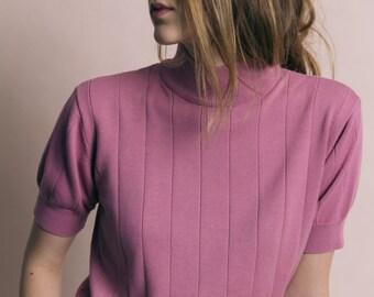 Vintage 90s Berry Pink Ribbed Knit Mock Turtleneck | M