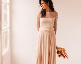 Golden polka dot bridal gown, polka dot bridal gown, long sleeve polka dot bridal gown, long sleeve polka dot tulle bridal gown, beige dress
