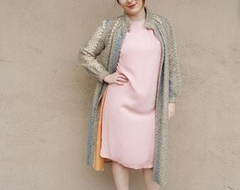 1960s Pink Silk Chiffon Beaded Dress - Size Med / Large
