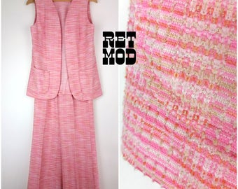 Fantastic Pink Heather Tweed Polyester 70s Vest and Pant Set / Leisure Suit!