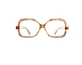 60s Rectangular Eyeglasses Frames Women's Vintage 1960's Translucent Brown & Grey Frames #M823 DIVIVE
