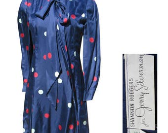 Designer 60s Silk Dress Shannon Rodgers for Jerry Silverman 36 bust Polka Dots Fully Lined Pussy Bow 1960s Mod Mini