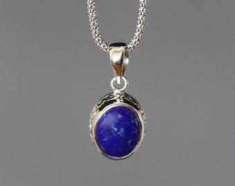 Lapis Necklace - Bali Silver Pendant - Lapis Pendant - Lapis Lazuli - Filigree Pendant - Bali Silver Necklace - Blue Gemstone - Jewelry Gift