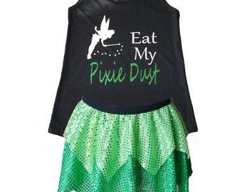 Tinkerbell Running Costume, Tinkerbell Costume, Fairy Tale Shirt, Fairy Costume, Sparkle Skirt, Running Skirt, Princess Costume