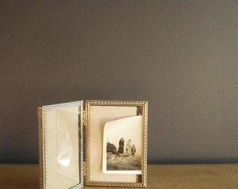 Mini Frame Set - Two Hinged Vintage Gold or Brass Tone Mini Picture Frames