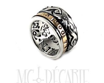 Spinner 12mm wide, silver floral pattern spinner with 3mm 10k yellow gold spinner, 2 engravings included, custom spinner ring, two tone band