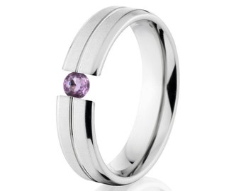 Tension Set Ring, Uniquley You, 5mm,  Titanium Ring, Amethyst, 5B1G-XB-Tension