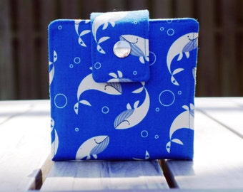 Small women's wallet, whale gift, whale wallet, small bifold wallet, ladies wallet, cute wallet, fun gift