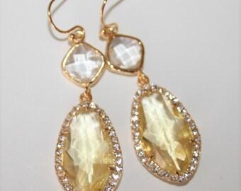 Citrine earrings,Yellow jewelry,November birthstone,Yellow topaz,Rhinestone,Sparkling,Yellow glass drop,Bridal jewelry,Teardrop Earrings