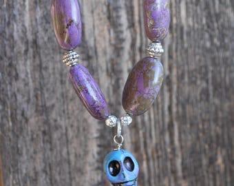 Silver Blue Purple Skull Necklace Halloween Dia de Los Muertos Day of the Dead Extra Long Gothic Creepy Sugar Skull